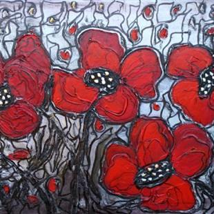 Art: RED POPPIES SILVER SUNSET by Artist LUIZA VIZOLI