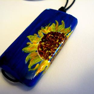 Art: Wrap-around Sunflower Pendant on Bamboo Tile - Sold by Artist Kathleen Ralph
