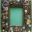 Art: Gorgeous Golden Jewelry Mosaic Photo Frame (Sold) by Artist Laura Winzeler