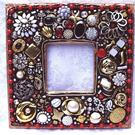 Art: Red and Black jewelry mosaic mirror (available) by Artist Laura Winzeler