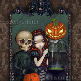 Art: Out Trick-or-Treating by Artist Jasmine Ann Becket-Griffith