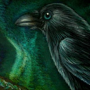 Art: RAVEN CROW - NORTHERN LIGHTS 2 by Artist Cyra R. Cancel