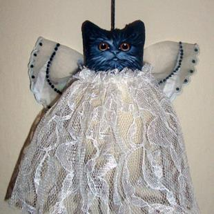 Art: TINY BLACK ANGEL CAT Ornament DOLL Folk Art HOLIDAY by Artist Cyra R. Cancel