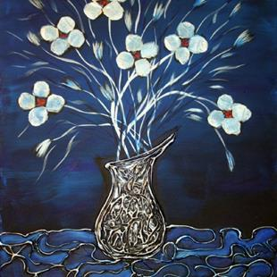 Art: WHITE FLOWERS,SILVER VASE on BLUE by Artist LUIZA VIZOLI
