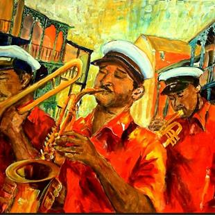 Art: New Orleans Brass Band by Artist Diane Millsap