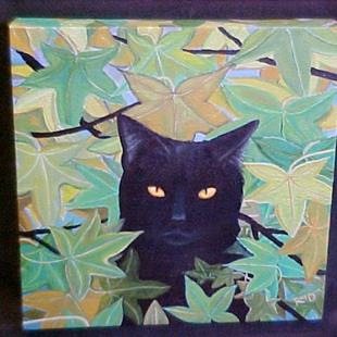 Art: Blackie in the Sweet Gum Tree by Artist Rosemary Margaret Daunis