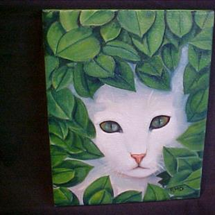 Art: White Cat  by Artist Rosemary Margaret Daunis