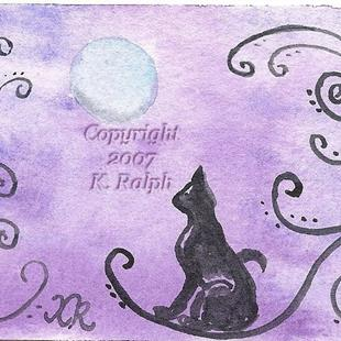 Art: Silver Moon Cat - Sold by Artist Kathleen Ralph