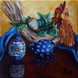 Art: Chicken and the egg: Polish Pottery XL© by Artist Heather Sims