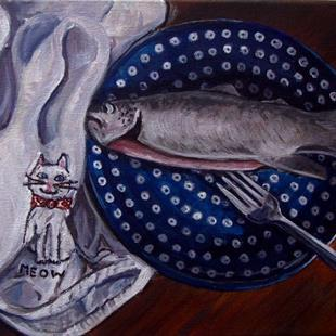 Art: Plate of Trout: Polish Pottery XLI© by Artist Heather Sims
