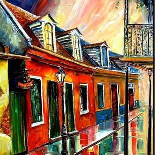 Art: Rainy Day on Toulouse Street - SOLD by Artist Diane Millsap