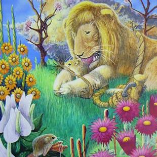 Art: The lion and The Mouse-Aesop's Fable by Artist Robert Thomas Robie