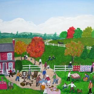Art: Fall Yard Sale (Sold) by Artist Fran Caldwell