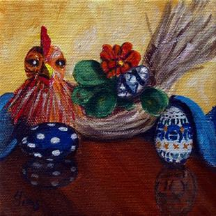 Art: Chicken and Eggs: Polish Pottery XLVa© by Artist Heather Sims