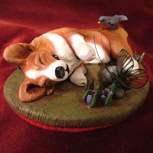 Art: Snoozing Corgi, Bird & Butterfly in Spring Flowers by Artist Camille Meeker Turner