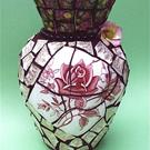 Art: Tudor Roses china pique assiette mosaic flower vase (SOLD) by Artist Laura Winzeler