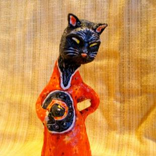 Art: Witch Cat Doll (Folk Art Style) by Artist Patience