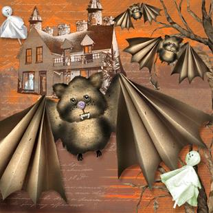 Art: Cute Vampire Bats - Trying To Look Scary by Artist Patricia  Lee Christensen