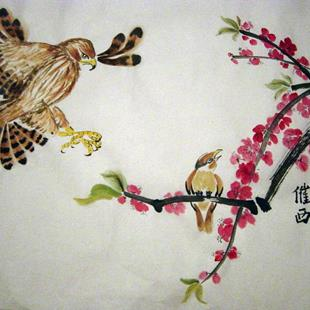 Art: The Hawk and the Nightingale by Artist Tracey Allyn Greene