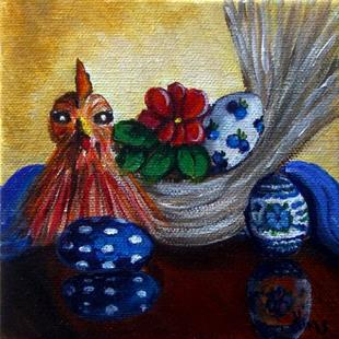 Art: Chicken and Eggs: Polish Pottery XLVd© by Artist Heather Sims