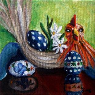 Art: Chicken and Eggs: Polish Pottery XLVe© by Artist Heather Sims