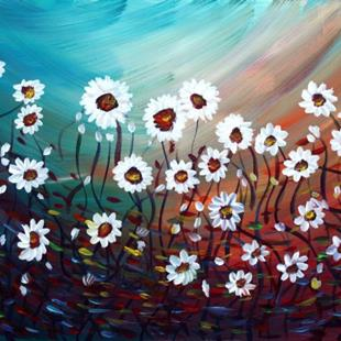Art: WHITE DAISIES IN THE MORNING by Artist LUIZA VIZOLI