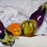 Art: Eggplant and Company No3 by Artist Delilah Smith