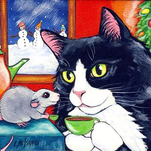 Art: Tuxedo Cat & Little Mouse having Christmas Tee by Artist Lisa M. Nelson