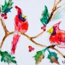Art: Cardinals and Holly Aceo by Artist Delilah Smith