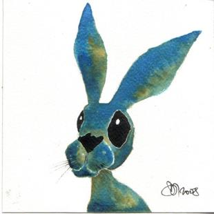 Art: BLUE HARE h1081 by Artist Dawn Barker