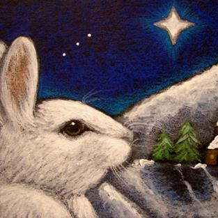 Art: SNOW HOLIDAY BUNNY RABBIT - BELEN STAR by Artist Cyra R. Cancel