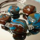 Art: Blue and Brown Stone Clay Bead Necklace by Artist Sarah Thomas