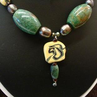 Art: Yellow Stone Clay and African Jade Necklace by Artist Sarah Thomas