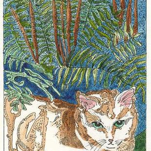 Art: CINNAMON FERN AND KITTY by Artist Theodora Demetriades