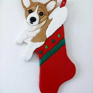 Art: CHRISTMAS STOCKING CORGI SURPRISE... ORIGINAL PAINTED INTARSIA ART by Artist Gina Stern