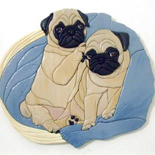 Art: THE TWINS PUG DOG ORIGINAL PAINTED INTARSIA ART by Artist Gina Stern