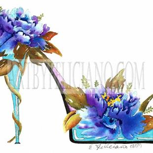 Art: Peonies Floral Stiletto #1 by Artist Elena Feliciano