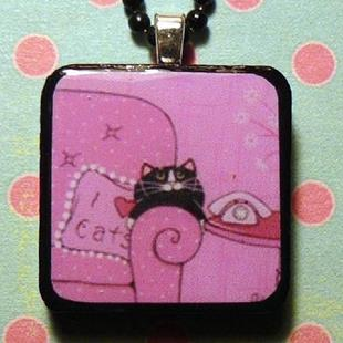 Art: shades of pink cat art pendant by Artist S. Olga Linville
