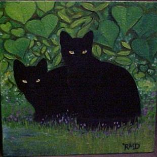 Art: GARDEN CATS by Artist Rosemary Margaret Daunis