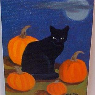 Art: ACEO #4 BLACK CAT HALLOWEEN by Artist Rosemary Margaret Daunis