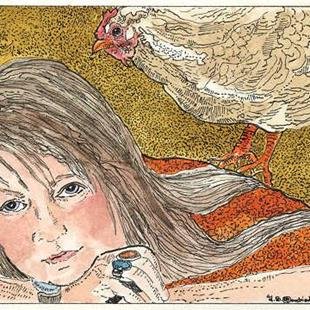 Art: Theodora and the Chicken by Artist Theodora Demetriades
