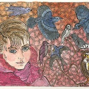 Art: Theodora and the National Bird Count by Artist Theodora Demetriades