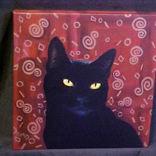 Art: Black Cat on Maroon & Bronze by Artist Rosemary Margaret Daunis
