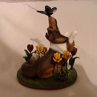Art: Sheltie/Collie, Tulips, Daffodils, Crocus & Butterfly by Artist Camille Meeker Turner