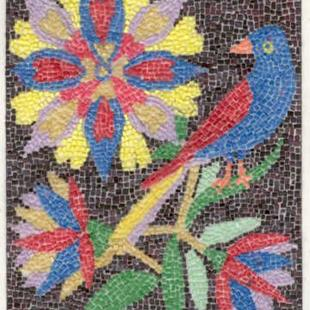 Art: FRAKTUR WITH BIRD AND FLOWERS by Artist Theodora Demetriades