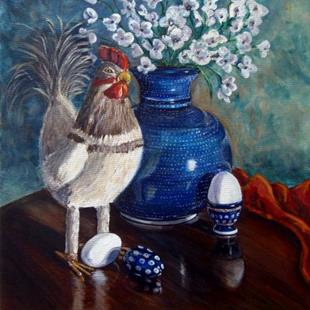 Art: Chicken: Polish Pottery XLIX by Artist Heather Sims