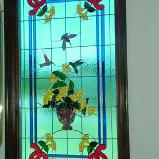 Art: Tiffany-Style Hummingbird Stained Glass Window by Artist Linda J. McGarvey