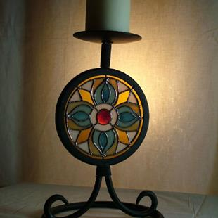Art: Tiffany-Style Candle Stand by Artist Linda J. McGarvey