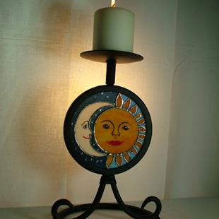 Art: Moon & Sun Candle Stand by Artist Linda J. McGarvey
