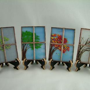 Art: Four Seasons Stained Glass ACEOs by Artist Linda J. McGarvey